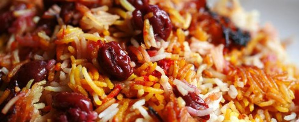 Persian-sour-cherry-saffron-rice-polow
